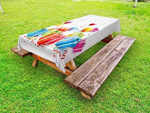 ABAKUHAUS Verjaardag Tafelkleed voor Buitengebruik, Surprise Boxes Balloon, Decoratief Wasbaar Tafelkleed voor Picknicktafel, 58 x 120 cm, Veelkleurig