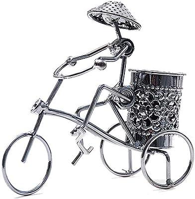 ZLBYB Creativa Hierro Forjado Carácter Pen Holder Bicicletas ...