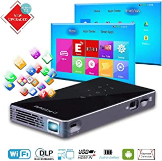 PTVDISPLAY Mini Pico Pocket Projector, Android 7.1 1080P Rechargeable Video Smart DLP Wireless Projector with