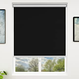 SUNFREE Blackout Window Shades Cordless Window Blinds with Spring Lifting System for Home & Office, 39 x 72 Inch, Black
