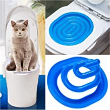 vapeonly Cat Toilet Training Kit, Step by Step Kitten Pet Toilet Training System, Puppy Litter Tray Mat, Kitty Urinal Seat Toilet Trainer, Blue Convenient Groove Design Safe Non-Toxic Pet Supply