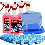 Brestol Reinigungsknete Set3 200 g Knete blau mittelstark + Box + 4X 750 ml Spezial GLEITMITTEL + 4X Poliertuch - Polierknete Lackknete Clay-Bar Auto-Lack-Knete - entfernt Baumharz Insekten...