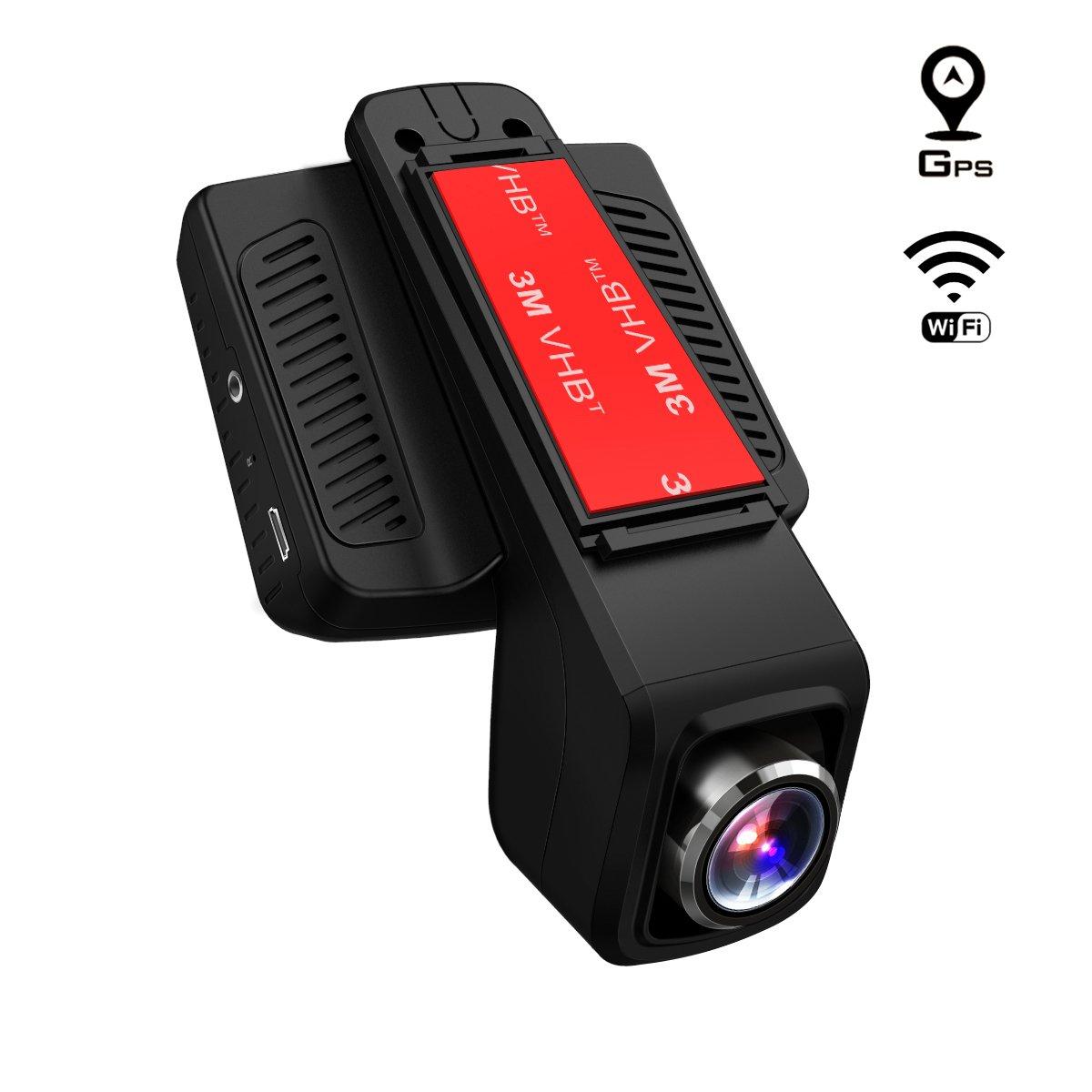 TOGUARD Cámara de Coche GPS WiFi Grande Ángulo de 170° Dash CAM Full HD 1080P, Dashcam Coche con Objetivo Ajustable Pantalla 2.45 Pulgadas IPS LCD, Grabación en Bucle,Detección de Movimiento, Monitor: Amazon.es: