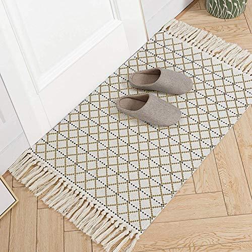 hi-home Baumwolle Teppich, Boho Gewebte Teppich mit Quasten Waschbar Retro Teppiche Läufer für Wohnzimmer Schlafzimmer Eingangstür Küche 60x90cm (Kaffee)
