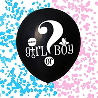 JXHV 36 Inch Baby Gender Reveal Balloon - Big Black Balloons with Pink and Blue Heart Shape Confetti Packs for Boy or Girl   Baby Shower Gender Reveal Party Supplies Decoration Kit