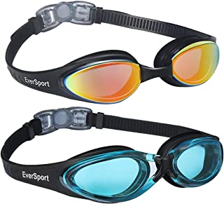 EverSport Swim Goggles, Pack of 2 Swimming Goggles, Anti Fog UV Protection Streamline Design, Soft Nose Piece, 180 Degree Vision, Triathlon Goggles Adult Men Women Youth Teens, Indoor Outdoor