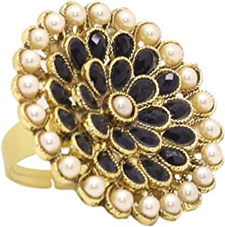 A.R. FASHION Ring For Women Stylish Adjustable 1 Pc - Traditional Ethnic Black and White Ring