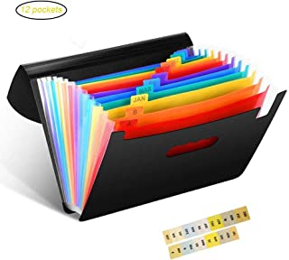 File Folders/12 Pocket Expanding File Folder Rainbow Color with Cover Lid Portable Large Space Expandable Accordion A4 File Document Organizer Briefcase for Office School Home