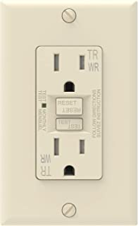 AIDA Self-Test 15 Amp Duplex Weather and Tamper Resistant GFCI Receptacle Wall Outlet Charger with LED Indicator, Decor Wall Plate & Screws Included, UL Listed,Back and Side Wire 1, Ivory 010042