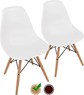 UrbanMod Mid Century Style Easy Assemble' Modern DSW ErgoFlex ABS Plastic and 'One Wipe Wonder' Cleaning Comfortable White Dining Chairs Meets 5-Star, Set of 2 (Natural)