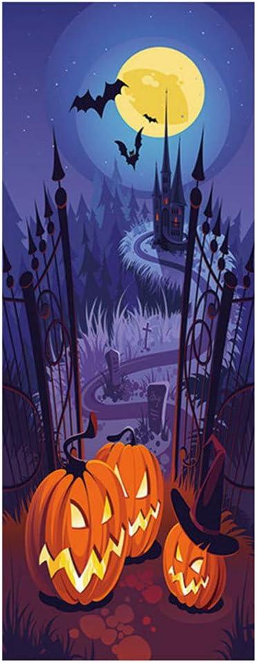 RYGHEWE Halloween Cemetery Gate Save money Milwaukee Mall Door Sticker Removable Wa Static