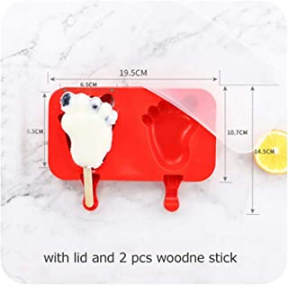 Silicone Popsicle Mold,Ice Pop Mold Tray Holder With Lid Durable,Cake Ice Cream Popsicle Maker With Wooden Stick,Foot
