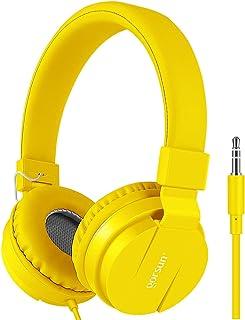 Kids Headphones, gorsun Lightweight Stereo Foldable Wired Headphones for Kids Adults Adjustable Headband Headset for Cellphones Smartphones iPhone Laptop Computer Mp3/4 Earphones(Yellow)