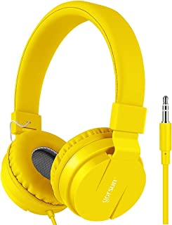 gorsun Kids Headphones, Lightweight Stereo Foldable Wired Headphones for Kids Adults Adjustable Headband Headset for Cellphones Smartphones iPhone Laptop Computer Mp3/4 Earphones(Yellow)