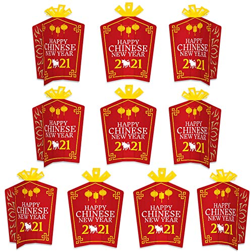 Big Dot of Happiness Chinese New Year - Table Decorations - 2021 Year of the Ox Party Fold and Flare Centerpieces - 10 Count