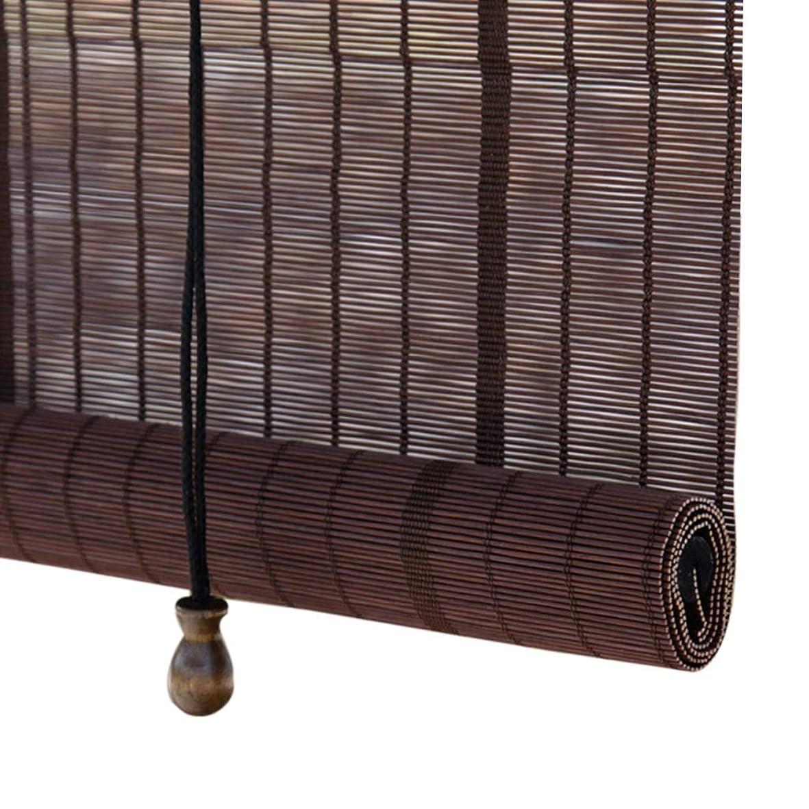 財布リフトオープナーすだれ ロールスクリーン 窓のドア用の軽量ローラーブラインド、55cm / 75cm / 95cm / 115cm / 135cmワイド竹サンシェード、ブラウン (サイズ さいず : 75×170cm)