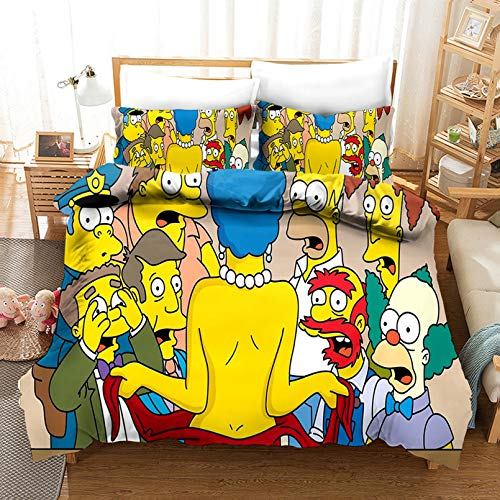 CHRN Simpsons - Juego de cama de microfibra suave con diseño de dibujos animados 3D Simpsons, funda de almohada para adulto, 140 x 210 cm