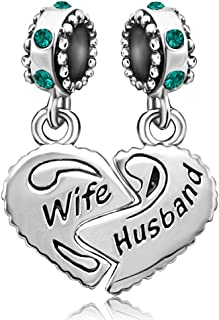 JMQJewelry Wife Husband Heart Love Charm Birthday Birthstone Month Charms for Bracelets Women Jewelry