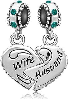 JMQJewelry Wife Husband Heart Love Charm 12 Colors Birthstone Charms Beads for Bracelets