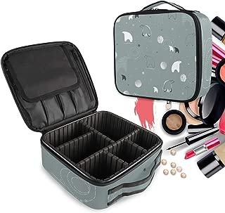 Pared Gris Del Oso Polar Bolsa de Maquillaje Organizador de Cosméticos Portátil Estuche Mochila con Divisor Ajustable para Mujeres Niñas