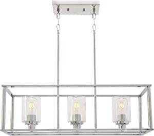 VINLUZ 3 Light Kitchen Island Pendant Lighting in Chrome Finish with Clear Glass Shade Linear Iron Ceiling Ligh Fixture Adjustable Hanging