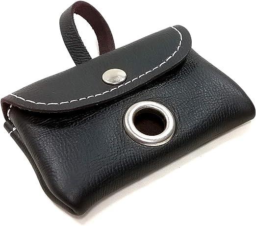 Porta-bolsas Caca Perro de Cuero, Elegante Dispensador para una Rollo de Bolsas de Excrementos, Calidad Hecho a Mano en España, Color Negro, Para Llevar en la Correa, Collar, Cinturón o Bolsa: Amazon.es:
