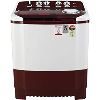 LG 7 kg 4 Star Semi-Automatic Top Loading Washing Machine (P7015SRAY, Burgundy, Collar Scrubber)