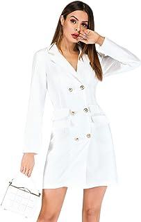 243543903b2d SODIAL Elegante Vestido Cruzado De Las Mujeres Blazer Dress Office Slim  Para Mujer Vestidos Ol Sólido