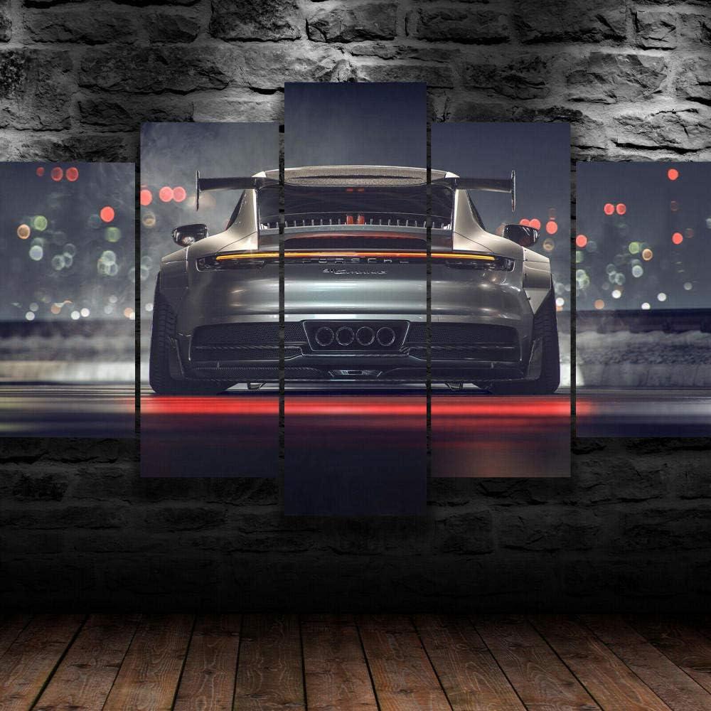 hgjfg Bilder Porsch 911 GT Luxus Sportwagen Wandbild 200x100cm Leinwandbild 5 TLG Kunstdruck modern Wandbilder XXL Wanddekoration Design Wandkunst…