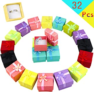 Pralb 32PCS Assorted Jewelry Gifts Boxes, Jewelry Boxes Cardboard Ring Boxes Jewelry Storage Cube Satin Ribbons Bowknot for Anniversaries Weddings Birthdays (8 Colors, 1.57
