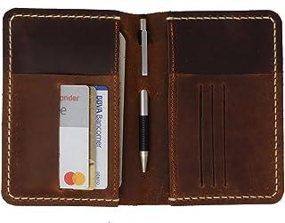 Porta documentos color café 100% piel porta pasaporte cartera (Crazy Cobre)