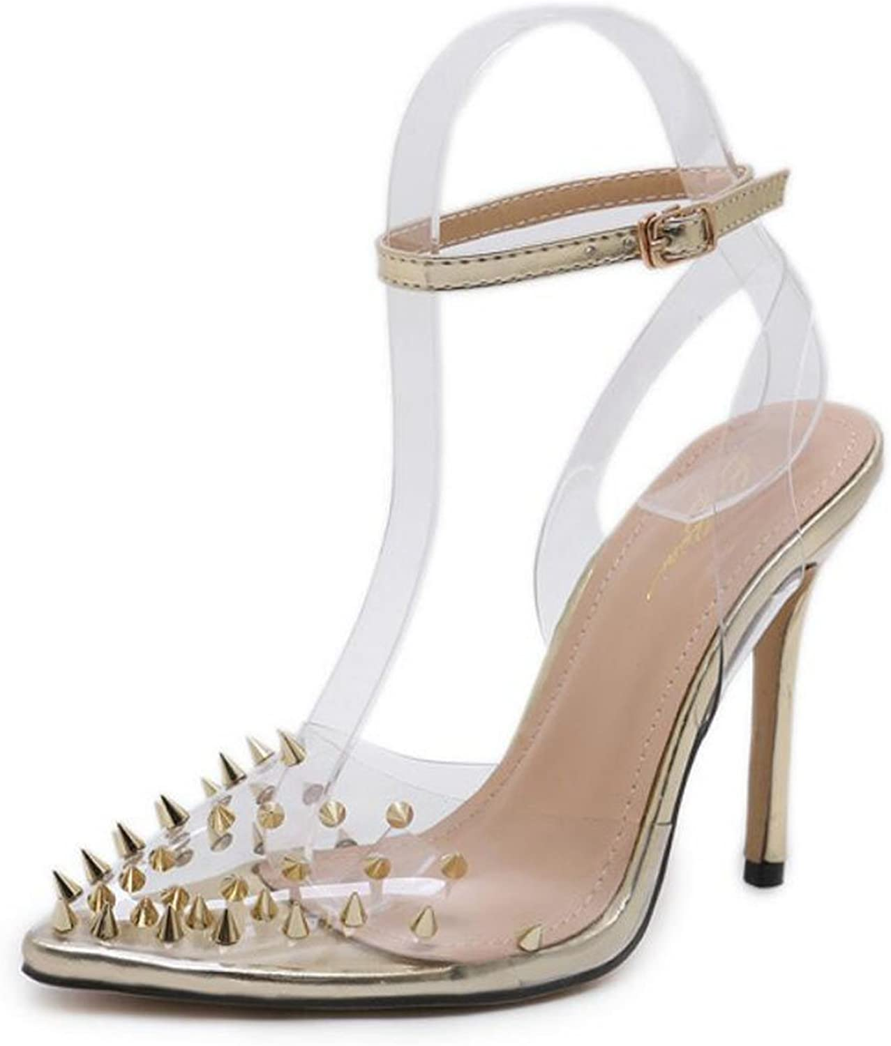 LZWSMGS Women's Pointed High Heels Shallow shoes Rivets Transparent High Heel Sandals Fashion Casual shoes Palace shoes gold and Silver Party Ladies Sandals (color   gold, Size   40 EU)