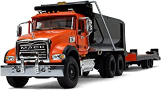 First Gear 1/50 Scale Diecast Collectible Orange/Black/Black Mack Granite Dump Truck with Beavertail Trailer (50-3403)