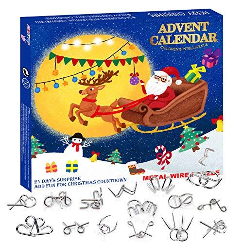 Calendario dell'Avvento 2020 Natale conto alla rovescia 24 Sorprese DIY Rompicapo in Metallo Puzzle Regalo di Natale per Ragazzo Ragazza