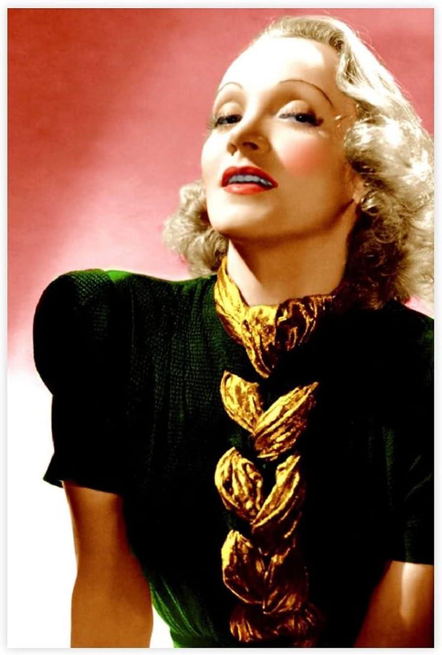 Póster de lona de Actor Marlene Dietrich 34, decoración de dormitorio, deportes, paisaje, oficina, habitación, decoración, regalo, 50 x 75 cm