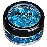Brillo con Figuras Holográficas por Moon Glitter – 100% Brillo Cosmético para la Cara, Cuerpo, Uñas, Cabello y Labios - 3g - Azul