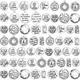 60 Pieces Inspiration Words Charms Craft Supplies Pendants Beads Charms Pendants for Jewelry Making Crafting Findings Accessory for DIY Necklace Bracelet (Silver)