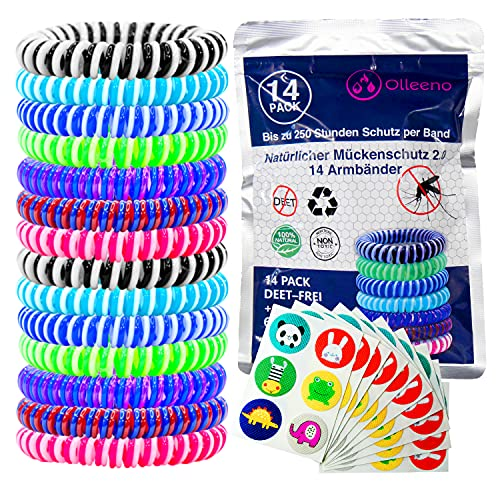 Olleeno Mückenschutz Armband Moskito Insektenschutz Armband für Outdoor Camping Wandern Sport Anti Mückenarmband für Kinder und Erwachsene (14 Stück + 60 Mückenabwehr Aufkleber)