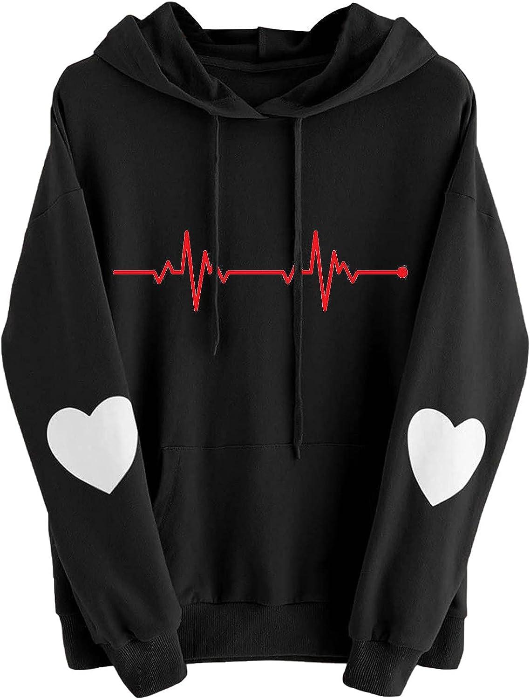 Womens Hoodies Electrocardiogram Print Cute Hooded Sweatshirt Teen Girls Long Sleeve Comfy Casual Pullover Tops