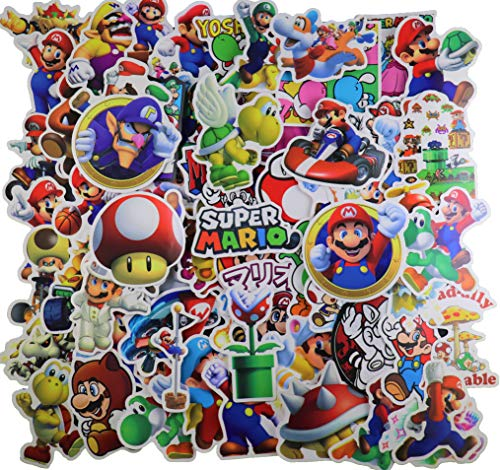 Super Mario Merchandise Sticker Pack [100PC] Cute Cartoon Cart Game Comics Vinyl Waterproof Stickers Kids Room Decor Sticker for Laptop hydroflask Waterbottle Computer Nintendo Switch car Xbox