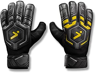 Storelli Gladiator Challenger 1.0 Goalkeeper Gloves | Protective Soccer Goalie Gloves with Finger Spines | Enhanced Finger and Hand Protection | Black
