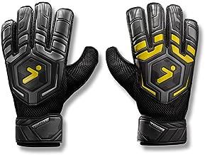Storelli Gladiator Challenger 1.0 Goalkeeper Gloves   Protective Soccer Goalie Gloves with Finger Spines   Enhanced Finger and Hand Protection   Black