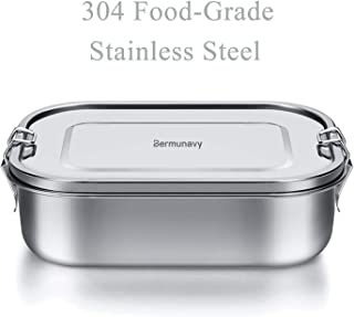 Stainless Steel Bento Box Lunch Container,Bermunavy 3-Compartment Metal Bento Lunch Box for Sandwich and Two Sides,1400 ml Food Container for Kids & Adults,Eco-Friendly, Dishwasher Safe, BPA-Free