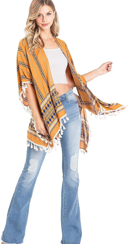 Lana Roux Women's Bohemian Kimono Cardigan w Tassel Fringe