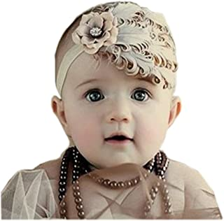 Arlai Girls Baby Feather Hairband Kids Infant Headband (Khaki) Head Bands for Girls