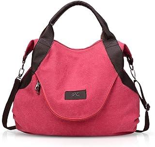 NICOLE & DORIS Damen Canvas Handtasche Segeltuch Taschen Schultertasche Damen Henkeltasche Hobo Tasche Umhängetasche Rot