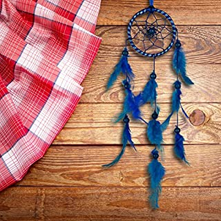 ILU Dream Catcher Wall Hanging Handmade Beaded Circular Net with Feather Decoration Ornaments Size 7.5cm Diameter Blue