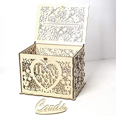 Amazon.com: SunBeter - Caja de madera para tarjetas de boda ...