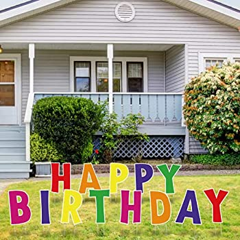 """QPS Happy Birthday Sign for Yard for Kids & Adults - Durable and Weather-Resistant Happy Birthday Yard Signs with Stakes - Birthday Yard Decorations - 30 Total Stakes - 12"""" Tall - 13 Total Signs"""