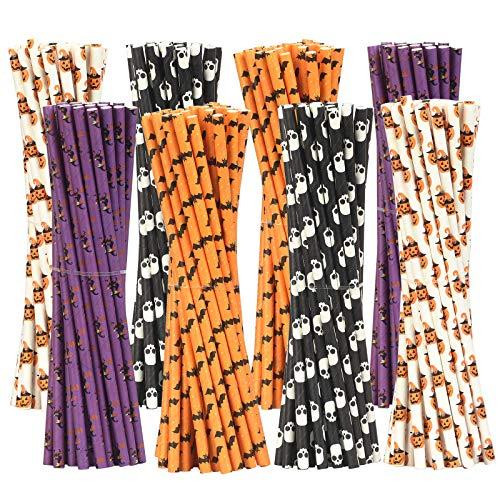 AirSMall 200PCS Cannucce di carta di Halloween Teschio Pipistrello Zucca Strega Cannucce Cannucce monouso biodegradabili per festa in costume Festa di carnevale Cocktail (4 stili)